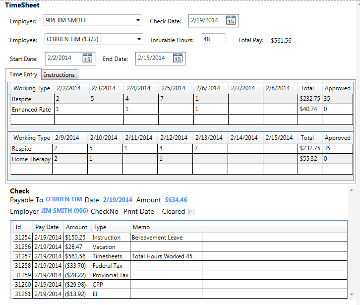 time sheet entry payroll invoicing